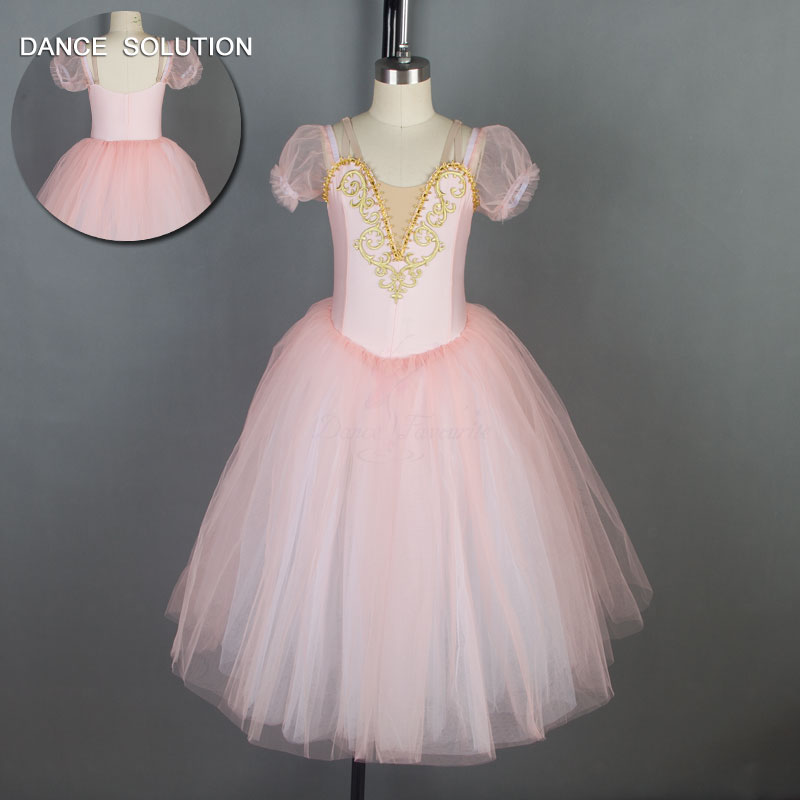 Pale Pink Puff Sleeve Ballet Dance Costume Romantic Length Ballerina Tutu Dress for Child and Adult