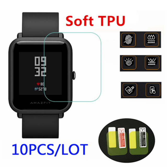 10 Pcs Groothandel Originele Voor Xiaomi Huami Amazfit Bip Screen Protectors Ultra Dunne Beschermende Film Full Hd Tpu Smart horloge