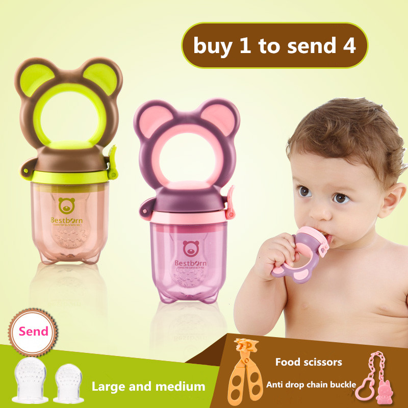 Portable Baby Infant Food Nipple Feeder Silicone Pacifier Fruits Feeding Supplies Soother Nipples Soft Baby Feeding Tool S M L