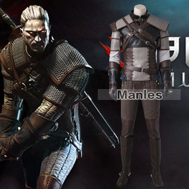 The Witcher 3 sauvage chasse Geralt de Rivia Costume Cosplay Costume jeu tenue adulte hommes Halloween Costume ensemble complet sur mesure