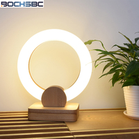 BOCHSBC Acrylic Ring Table Lamp Solid Wooden Base Nordic Modern Desk Lamp For Bedroom Living Room Dining Room Lamp Light Fixture