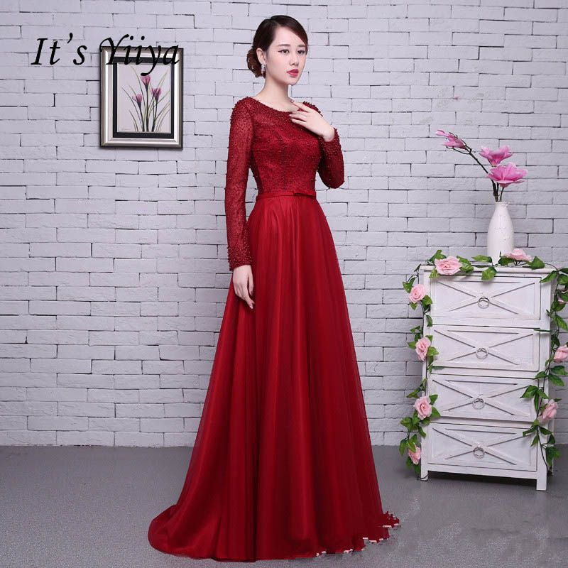 It's YiiYa Red Long Sleeves Beading Backless Tulle Flower Lace Up Luxury Party Formal Dress Floor Length Evening Dresses LX062