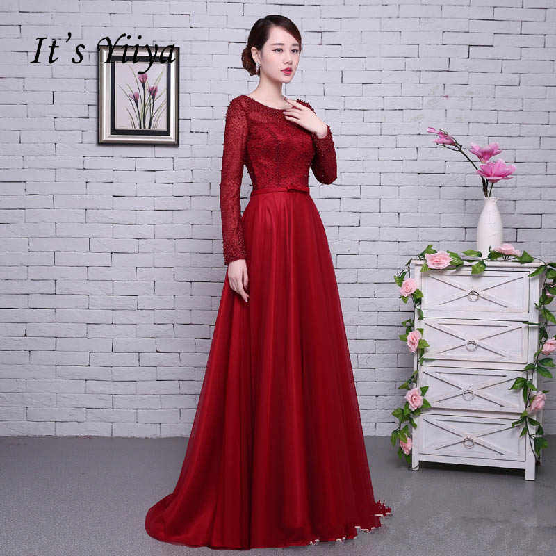 79641db4130 Это yiiya красный одежда с длинным рукавом Бисер спинки Тюль цветок на  шнуровке Роскошные вечерние торжественное