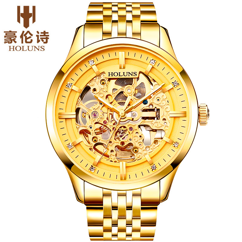 Holuns mens watches top brand luxury automatic mechanical Gold watch waterproof Stainless Steel business watch relogio masculino 2017 switzerland automatic mechanical men watch sapphire stainless steel relogio waterproof mens watches top brand luxury b5005