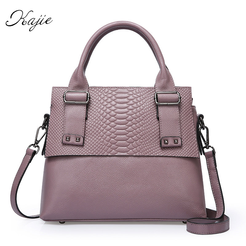 Kajie Crocodile Pattern Women Genuine Leather Embossed Bag Famous Designer Handb