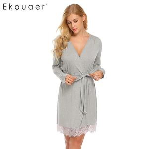 Ekouaer Mulheres Pijamas Kimono Robe Roupa de Dormir de Renda Sólida-aparado Spa Roupões de Manga Longa com Cinto Sexy Lingerie Vestes Femme