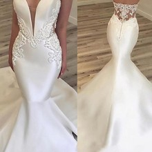 kissbridal Simple Elegant Appliqued Satin Wedding Dresses