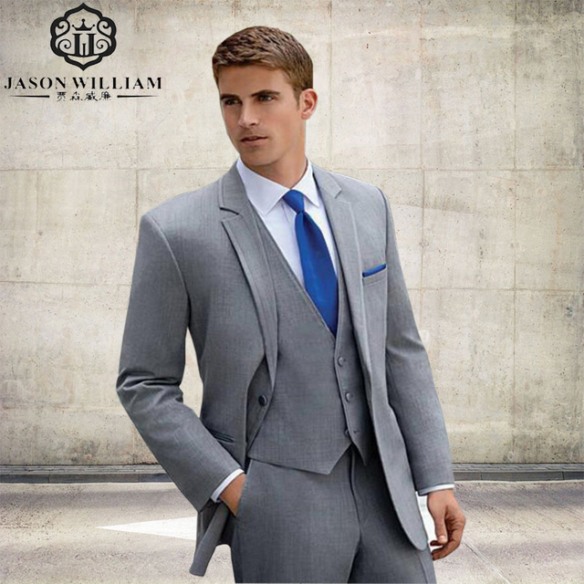 LN224 Smoking 2018 Custom Made Homme Automne Marié Gris Suitmale Slim Fit  Costume Masculin Manteau D