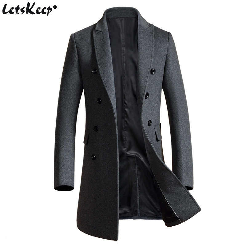 Letskeep New Winter woolen long peacoat men slim fit Double breasted overcoat mens warm business trench coat for men, MA324