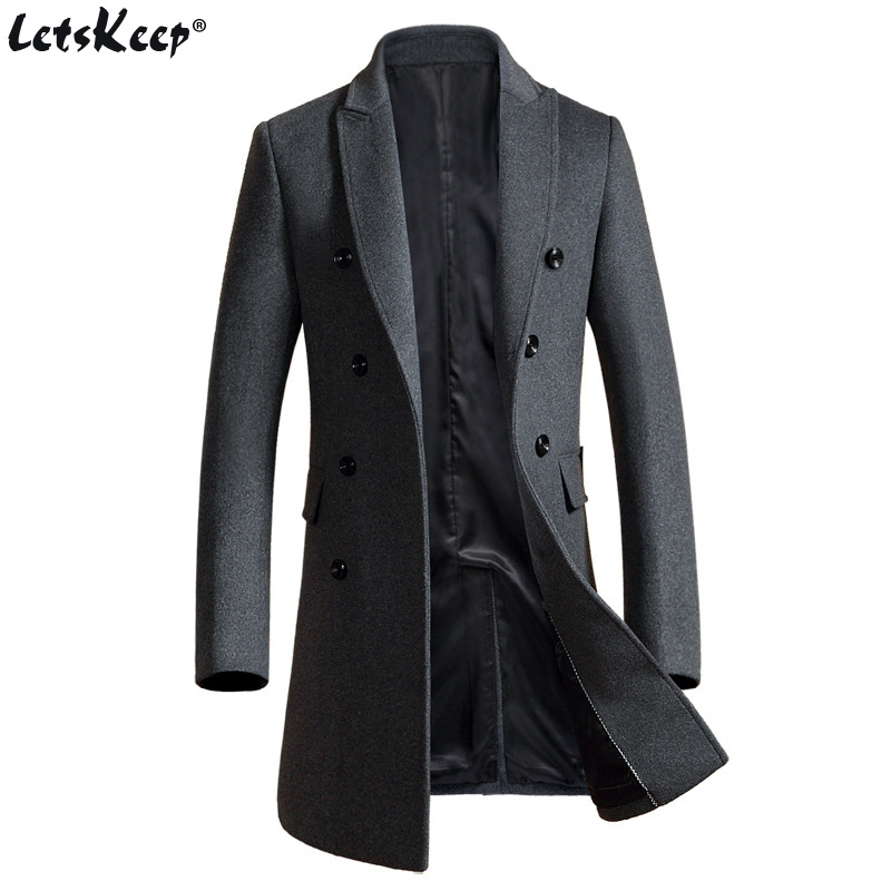 Letskeep New Winter lana long peacoat hombres slim fit doble - Ropa de hombre
