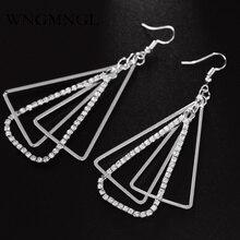 WNGMNGL 2018 New Fashion Hollow Out Triangle Earrings For Woman Girls Jewelry Shiny Rhinestone Long Dangle Geometric