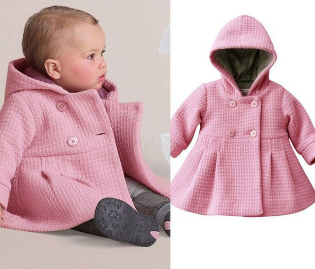 Cute Baby Girl Winter Warm Wool Blend Pea Coat Snowsuit Jacket Outerwear Clothes