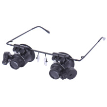 High Quality Jeweler Glasses 20x Magnifying Eye Magnifier Glasses Loupe Lens Watch Repair LED Light Eyes Wearing Style