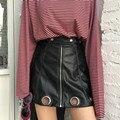 Envío gratis Auto retrato Moda diseño de Puerto único estilo círculo cremallera color Sólido de cuero de LA PU de las mujeres A-line mini falda negro