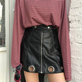 Free shipping Self portrait Fashion Port design unique style circle zipper Solid color PU leather women A-line black mini skirt