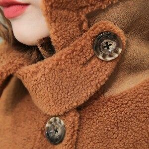 Image 5 - Nerazzurri womens sheepskin coats winter warm plus size plush faux fur coat regular beige lamb wool teddy bear jacket woman 5xl