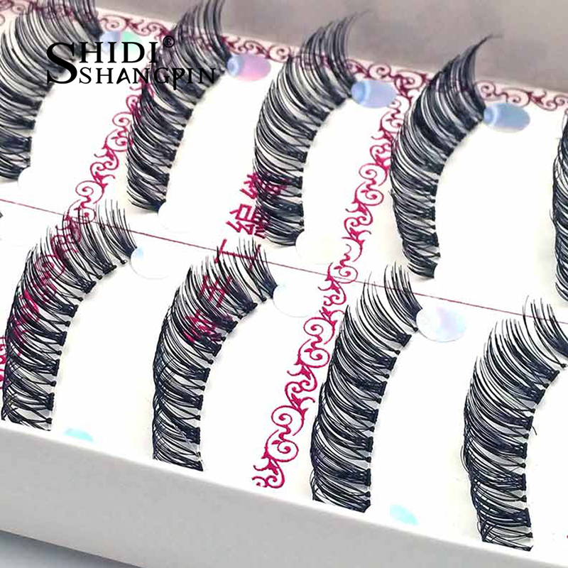 5 Pairs/lot Long False Doll Eyelashes Cross Handmade Winged Synthetic Fiber Individual Transparent Terrier Eye Lashes