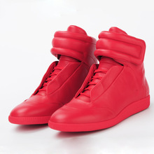 Trendy designer black red mens casual shoes ankle boots genuine leather flats walking shoes mens outdoor