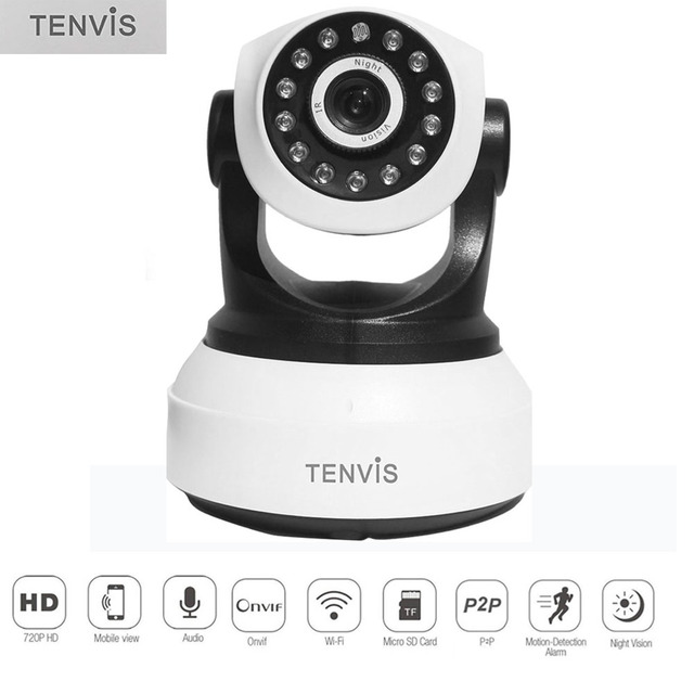 TENVIS T8809 720P HD WiFi IP Camera Pan/Tilt Infrared Night Vision Surveillance Camera Wireless Onvif P2P Cam for Home Security