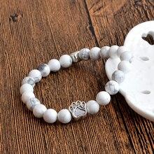 Tiny Antique Silver Paw Print Charm Stone Bracelet