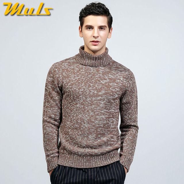 Muls pullover men sweaters turtle neck thick acrylic male pullover ...