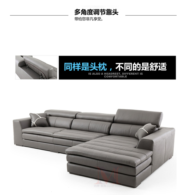top genuine/real leather sofa sectional living room sofa corner home furniture couch L shape functional backrest modern style