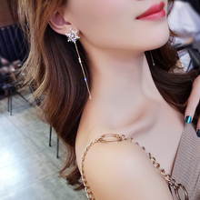 DREJEW Snowflake Flower Long Tassel Statement Earrings 2019 Gold Crystal 925 Drop Sets for Women Wedding Jewelry HE666
