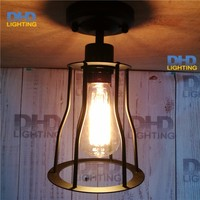 New Vintage Small Iron Cage Ceiling Light Loft Lustre Lamps For Home Decor Restaurant Dinning Room