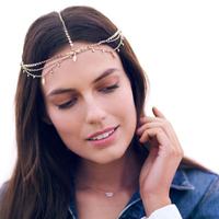 Bijoux Alloy Leaf Wedding Bridal Jewelry Gold Color Layered Chain Hairbands Fashion Women Hair Accessories
