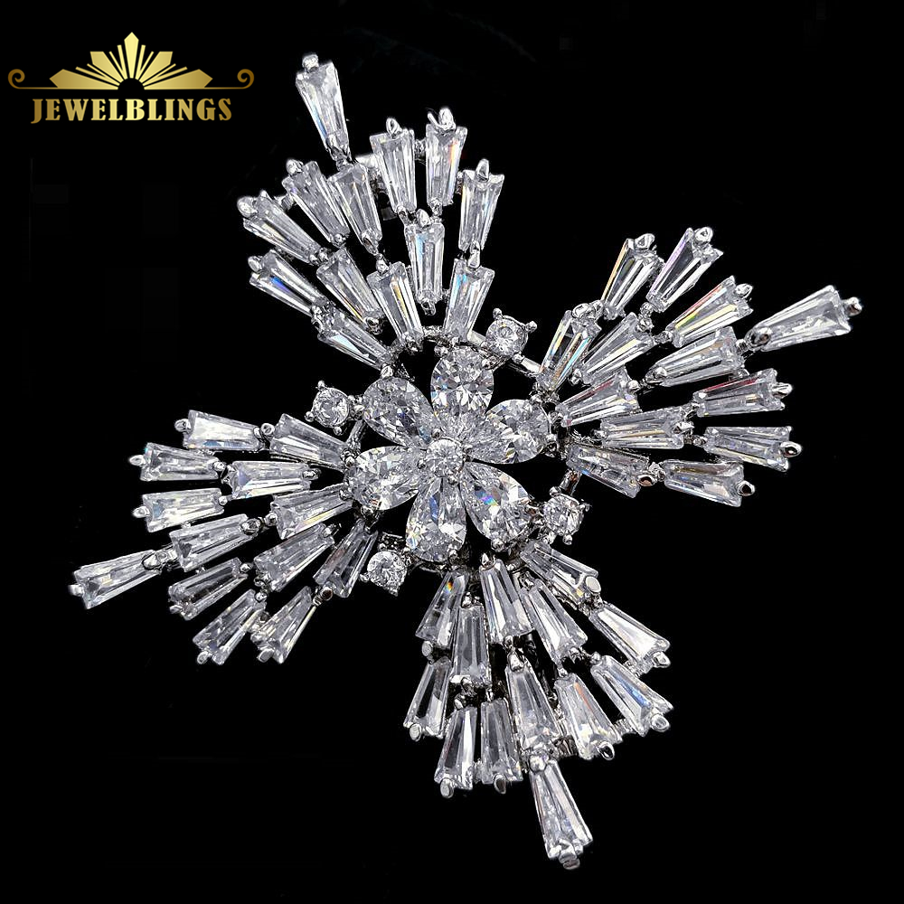 Old European Stylish Baguette Cut CZ Cross Brooch Silver Tone Opens Domed Flower Art Deco Vintage Maltese Cross Pins for Winter серьги art silver art silver ar004dwzmh30