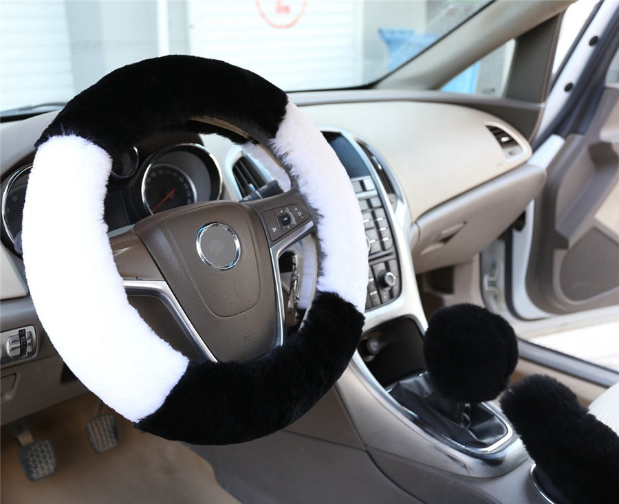 3pcs/set soft fur warm long wool plush steering wheel cover Gear shift Hand brake grips covers for Audi Ford