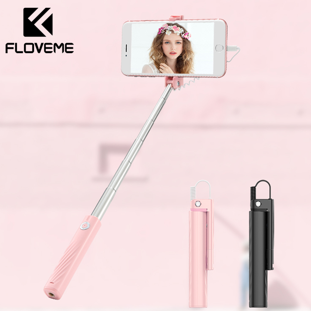FLOVEME Mini Wired Selfie Vara Para iPhone 7 8 Plus X XS Max Selfie Vara Monopé Para Iluminação Dobra Portátil palo Selfie Varas