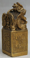 China Chinese Dynasty Style Brass Dragon Statue Imperial Seal Stamp Signet