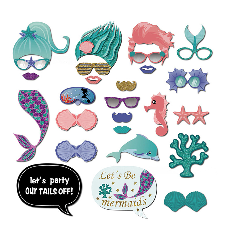 22pcs Mermaid Party Photo Booth Props Summer Pool Under Sea Party Girls Baby Shower Gender Reveal Kids ONE Birthday Party Favor