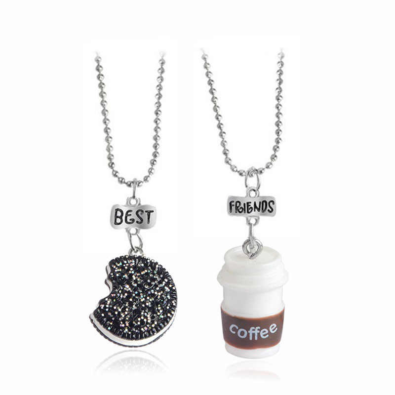 2 pieces / set of mini Oreo biscuits and coffee pendant necklace Best friend and lady men's BFF gift food friendship jewelry