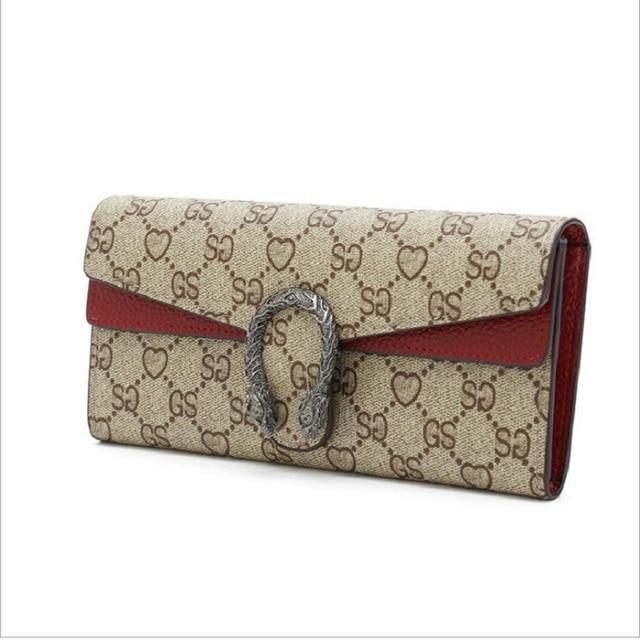 Women Designer Genuine Leather Wallet Famous Brands Printed Magnetic Buckle Ladies Wallet Luxury Female Tri-color Bag