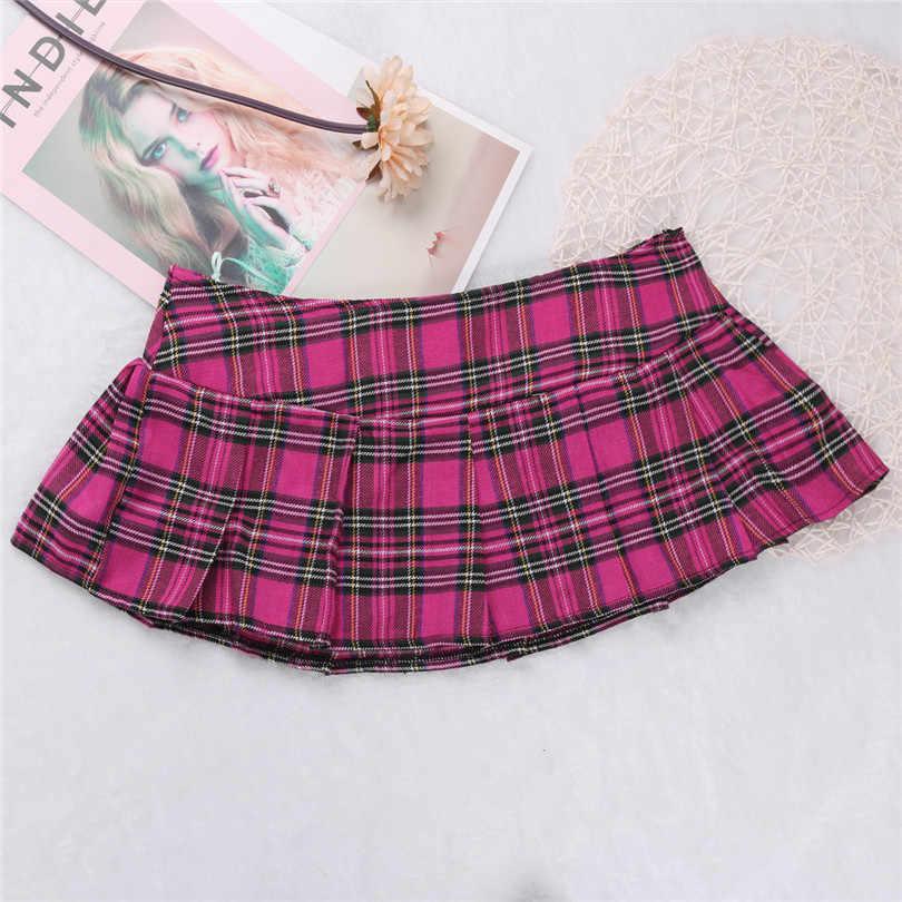 6b2a4206a ... Womens Cotton Mini Plaid Skirt Schoolgirl Role Play Skirts Sexy Women's  School Girl Comfortable Mini Skirt ...