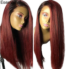 hot deal buy eseewigs human hair silky straight full lace wig 100% real brazilian remy hair ombre black roots 1b 99j wig for black women