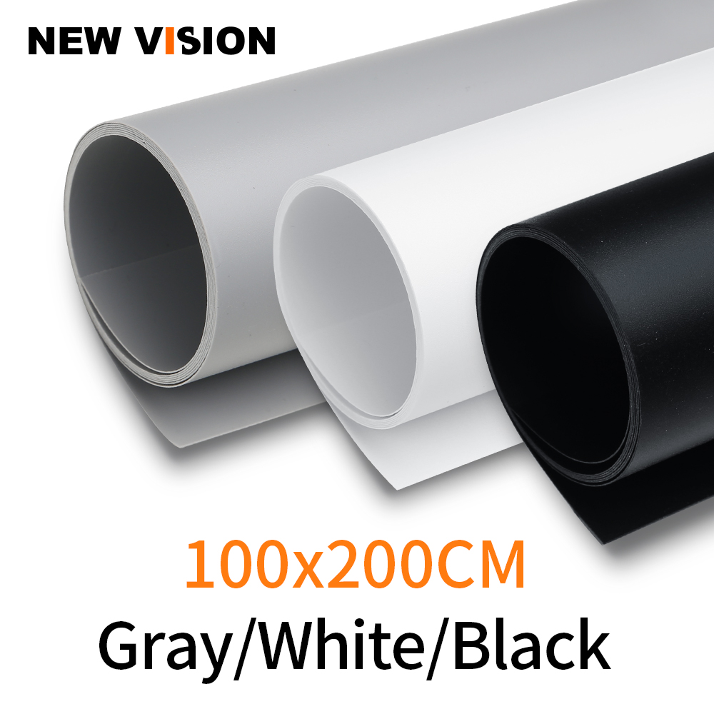 Black White Gray 100cm*200cm Seamless Water-proof PVC Backdrop Background Paper for Photo Video Photography Studio