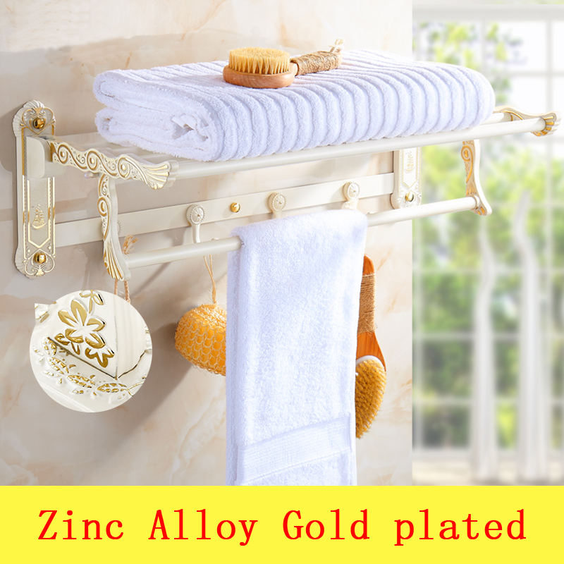 2 Type 60cm Simple towel rack shelf with hooks wall mounted, Zinc Alloy dual tier towel rack, Gold plated wall bathroom shelves 3288 wall to suction dual gate zinc alloy