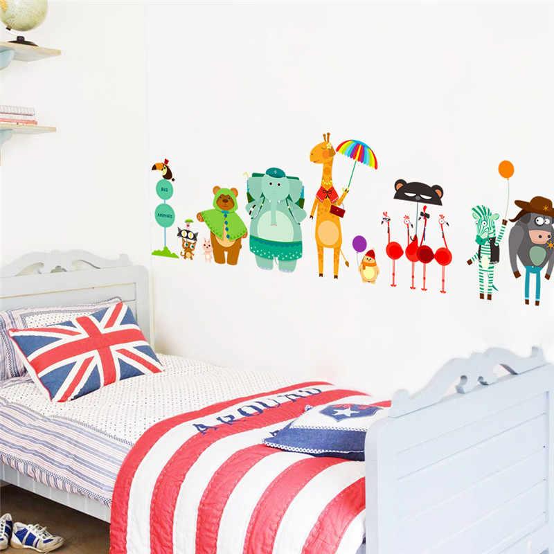 Giraffe Bear Elephant Wall Stickers For Kids Rooms Nursery Children Kindergarten Decorations Animals