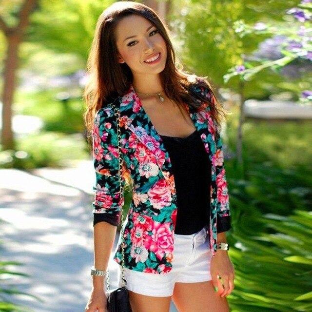917b124cf3d04 Moda Para Mujer de Manga Larga con Estampado floral Blazer Femenino Delgado  Traje de Chaqueta Ocasional