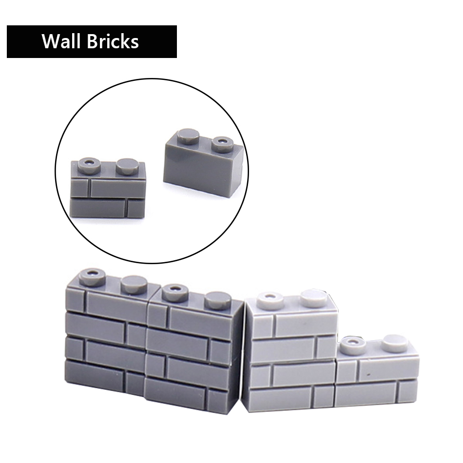 50PCS 1x2 Dots Creative DIY Military City Wall Bricks Accessories Compatible Legoed Army WW2 Building Blocks Toys For Children