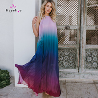Sexy Long Bikinis Cover Up Patchwork Chiffon Beach Dresses High Neck Summer Dress Sleevesless Tunics Backless Sarongs