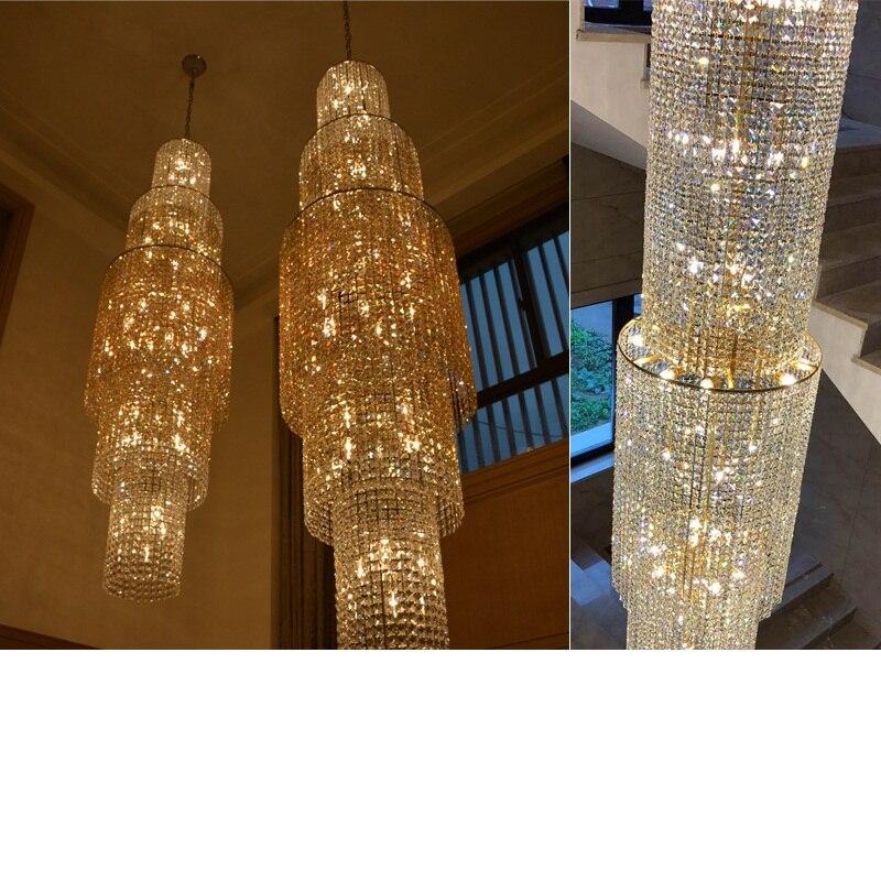 Хрустальная люстра вилла двойной пол гостиная лампы лобби хрустальная люстра настройки