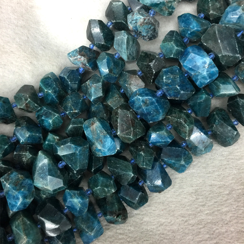 Natural Genuine Raw Mineral Dark Green Blue Apatite Hand Cut Faceted Big Nugget Loose Beads Fit Jewelry 15 05562 dark blue loose fit knot pattern front sweatshirt