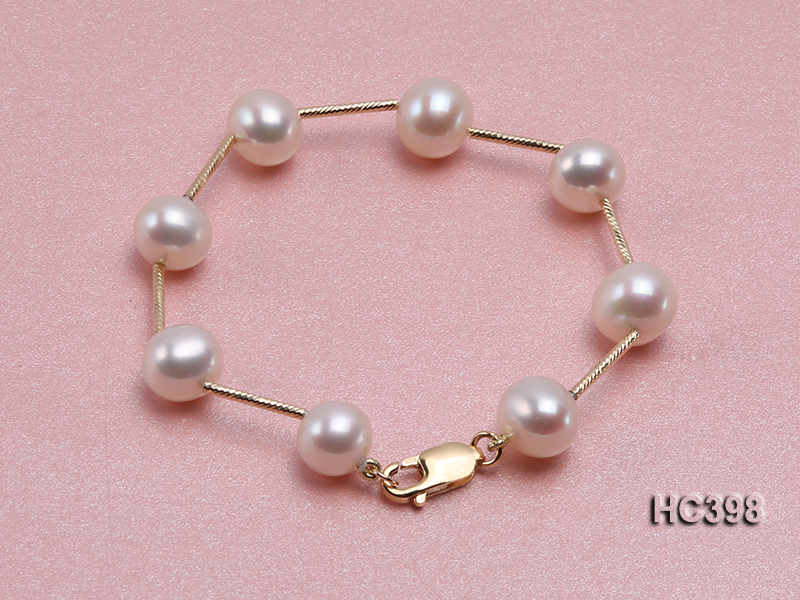 Unique Pearls jewellery Store 18cm 9 10mm Natural White Color Freshwater Pearl Bracelet 14K Gold Tube Bracelet