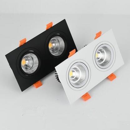 1 pcs dupla Regulável quadrado Levou downlight luz de Teto COB Spot Light 20 w 30 w CONDUZIU Luzes de teto rebaixado iluminação interior