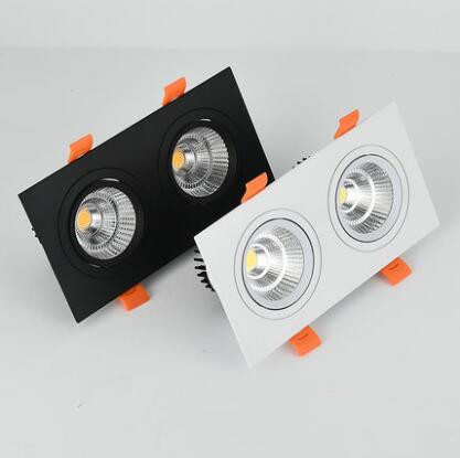 1pcs double square Dimmable Led downlight light COB Ceiling Spot Light 20w 30W LED ceiling recessed Lights Indoor Lighting