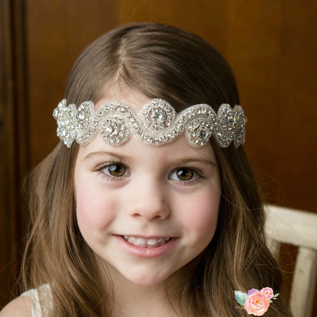 7cbf581a5ce New girls soft Headband Rhinestone diamond flower Headbands Elastic Newborn  kids Hair Accessories